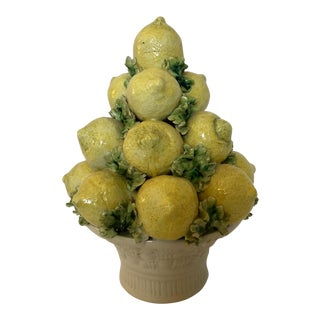 Vintage Italian Pottery Lemon Topiary For Sale