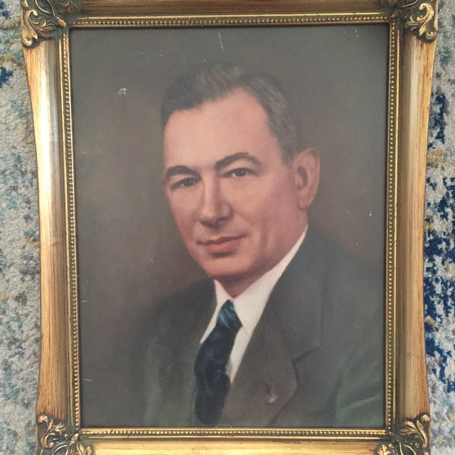 Vintage Framed Portrait Painting of Business Man - Image 8 of 11