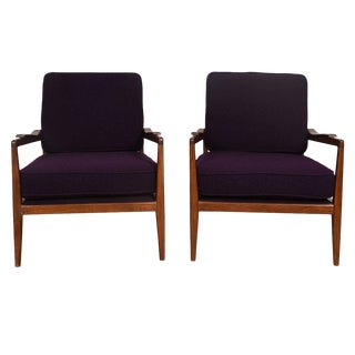 Edmond Spence Mid-Century Modern Walnut Club Chairs - a Pair For Sale