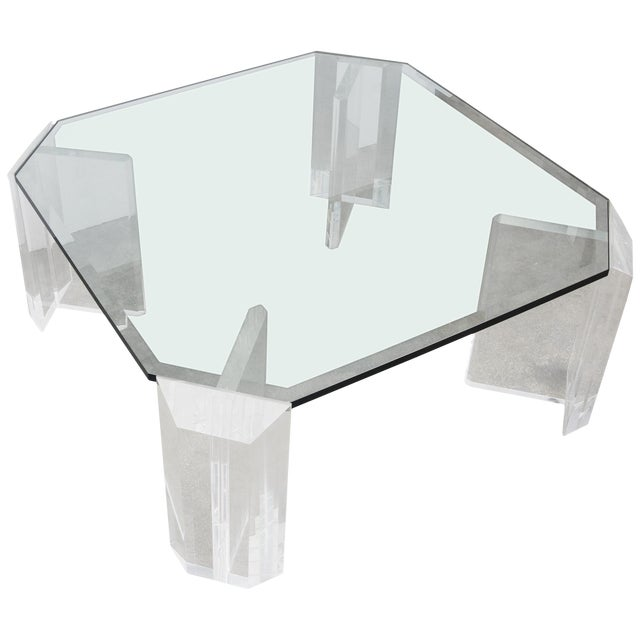 Lucite and Glass Square Cocktail Table by Charles Hollis Jones For Sale