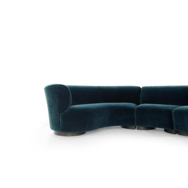 Vladimir Kagan for Directional Sectional in Teal Mohair, Circa 1970s For Sale - Image 10 of 12