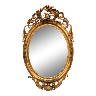 19th Century French Louis XV Carved Giltwood Oval Wall Mirror For Sale