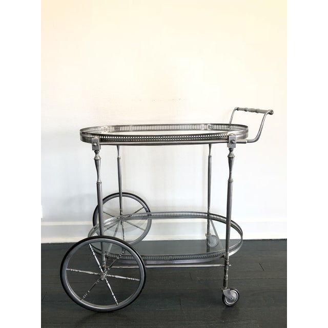 Silver Italian Mid-Century Bar Cart For Sale - Image 8 of 8