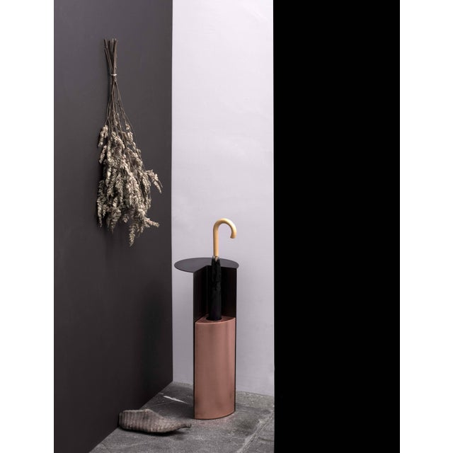 Umbrella Stand With Shelf in Blackened Steel and Copper by Birnam Wood Studio For Sale - Image 12 of 13
