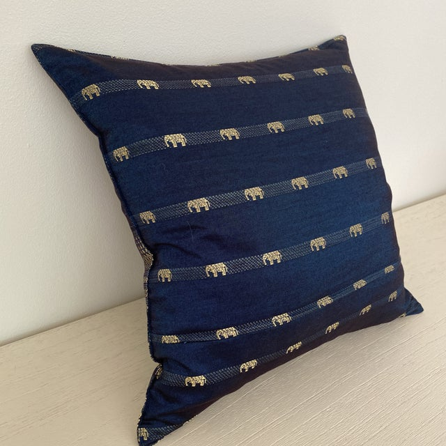 Blue Thai Silk Pillow With Elephant Motif For Sale In New York - Image 6 of 13