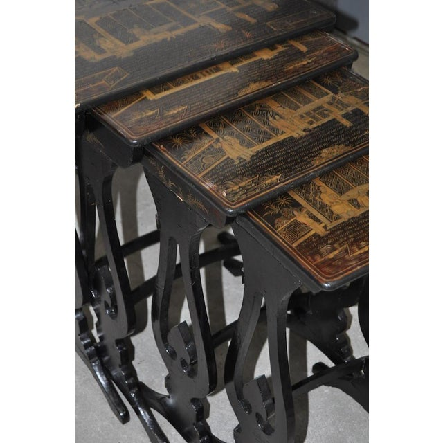 Asian 19th Century Chinoiserie Black Lacquered & Gold Nesting Tables - Set of 4 For Sale - Image 3 of 10