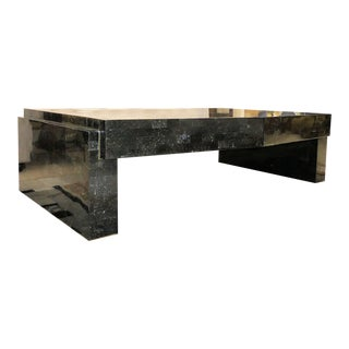Karl Springer Signed Mid-Century Modern Tessellated Marble Coffee Table With Brass Accents For Sale