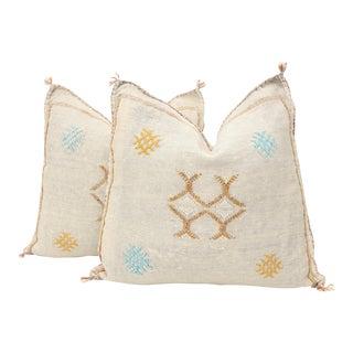 Moroccan Sabra Cactus Silk Pillow Cover - a Pair For Sale