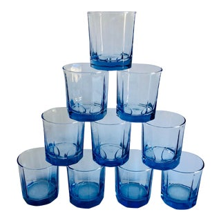 Costal Living Style Ice Blue Lowball Glasses S/10 For Sale