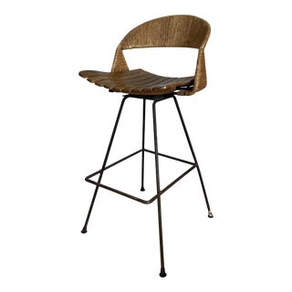 Mid Century Modern Arthur Umanoff Rattan Bar Stool For Sale