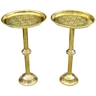 Engraved Moroccan Brass Tables, S/2 For Sale