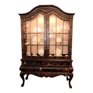 Drexel Heritage Asian Chinoiserie Lighted China Display Cabinet For Sale