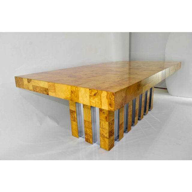 Paul Evans Burl Wood and Chrome Cityscape Dining Table - Image 9 of 10