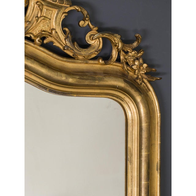 Late 19th Century Antique French Louis Philippe Mirror with a Cartouche circa 1890 For Sale - Image 5 of 10