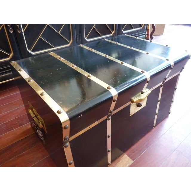 Lane Small Black Trunk with Brass Straps For Sale - Image 5 of 8