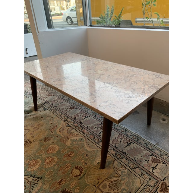 Wood Mid-Century Modern Pink Marble Coffee Table For Sale - Image 7 of 12