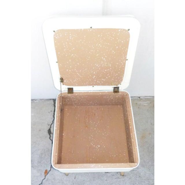 Mid-Century Modern White Leatherette Storage Stool - Image 7 of 7