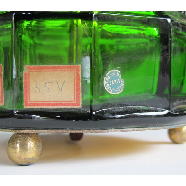 1940s A good quality French 1940's apple-green crystal lamp with gilt bronze mounts; foil label 'Cristal et Bronze, Paris' For Sale - Image 5 of 6