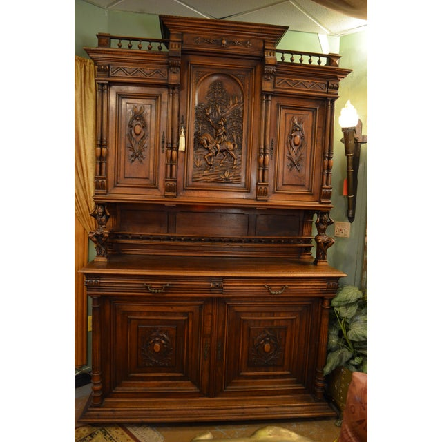 Gothic Antique French Ornate Walnut Hand Carved Figural Gothic Bookcase Cabinet For Sale - Image 3 of 11