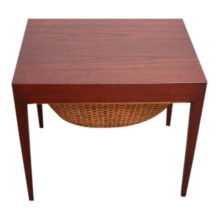 Teak and Rattan Sewing Table by Severin Hansen Jr. for Haslev Mobelsnedkeri For Sale