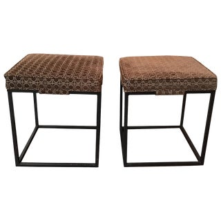 Pair of 1960s Brown Upholstered Iron Benches For Sale