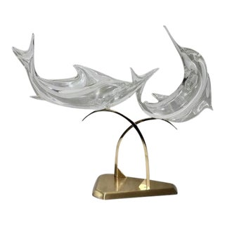 Vintage Licio Zanetti Sailfish Murano Sculpture Clear Glass For Sale