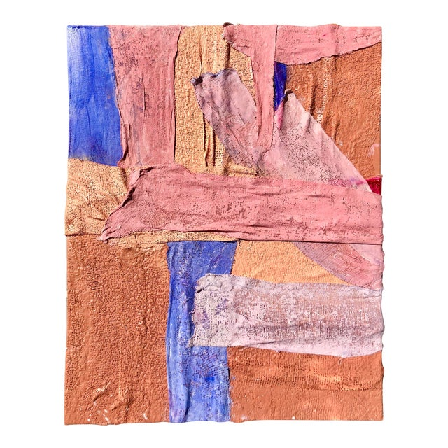Multi-Colored Plaster and Acrylic Abstract Painting by Virginia Chamlee For Sale