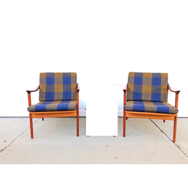 Pair of Mid-Century Modern Easy Chairs in Teak and Wool For Sale - Image 9 of 9