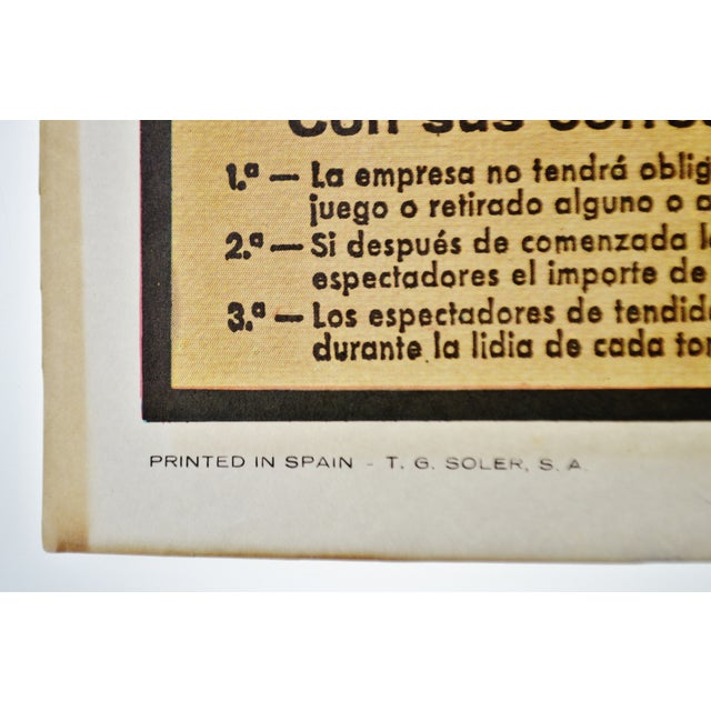 Vintage Framed 1971 Spanish Bullfight Running of the Bulls Lithograph For Sale In Philadelphia - Image 6 of 13
