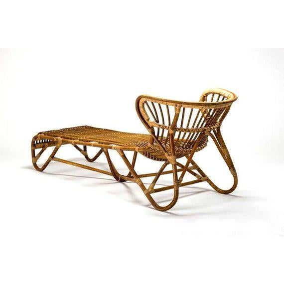 Boho Chic Mid Century Modern Franco Albini Chaise Lounge Sculpted Bamboo Daybed For Sale - Image 3 of 12