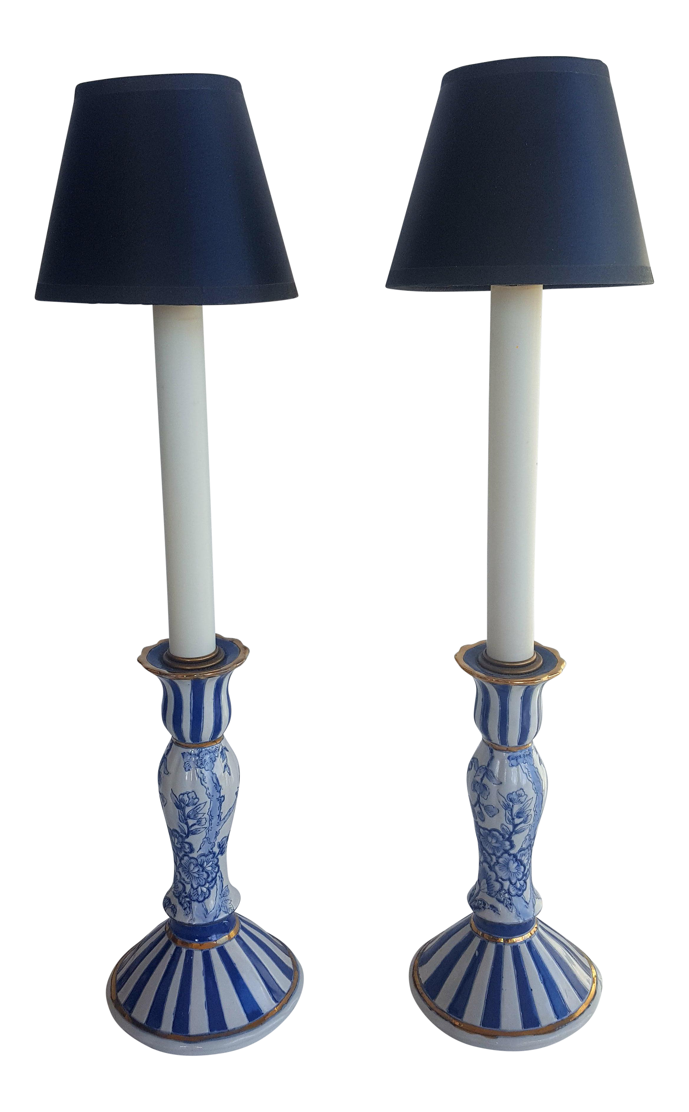 Vintage Blue And White Asian Chinoiserie Candlestick Table Lamps A