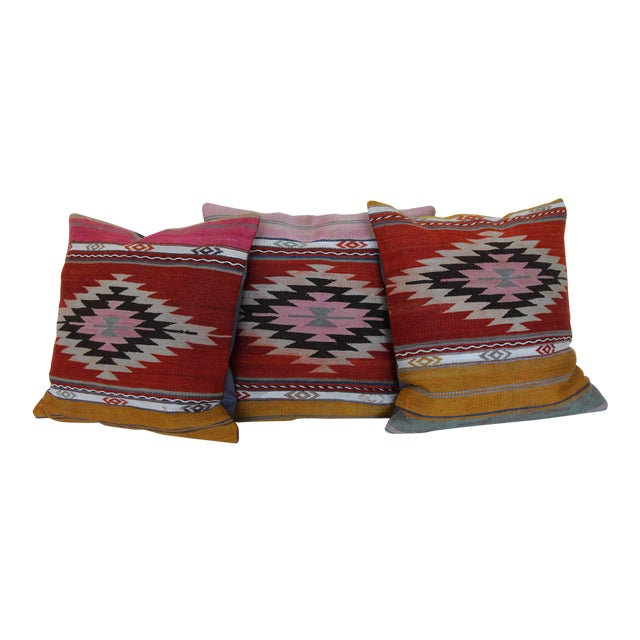 18'' Antique Turkish Kilim Rug Pillows - Set of 3 For Sale