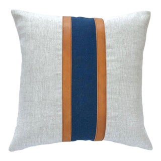 "Boho Chic Vertical Leather Stripe Color Block Linen Pillow Cover - 18""x18"" For Sale"