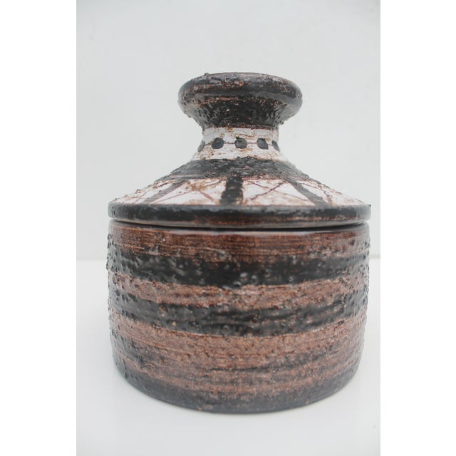 Mid-Century Modern Aldo Londi For Bitossi Italian Studio Pottery Decorative Lidded Bowl For Sale - Image 3 of 7