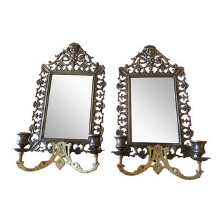 North Wind Face Ornate Mirrored Wall Sconces - A Pair For Sale