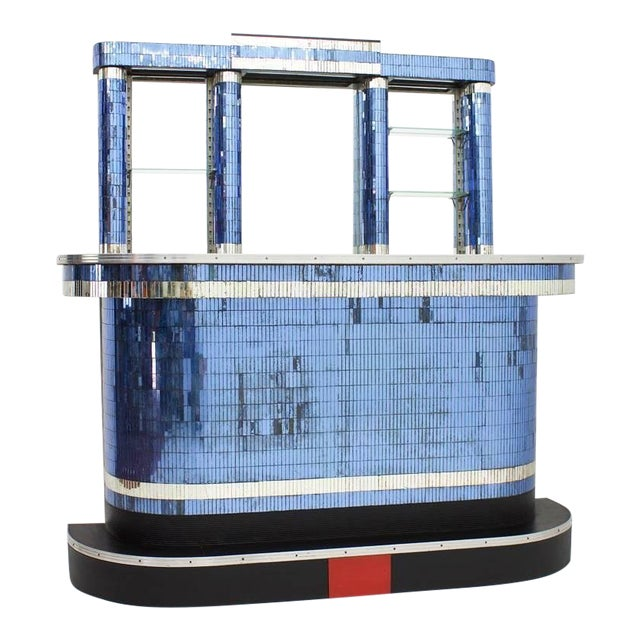 American Art Deco Bar With More Than 4,700 Mirror Plates, New York 1930s For Sale