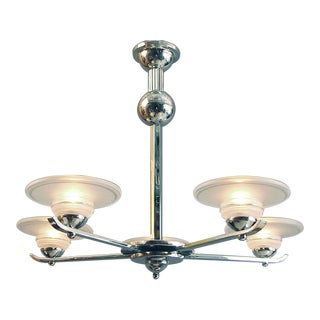 1920s Vintage Machine-Age Styled French Light Fixture For Sale
