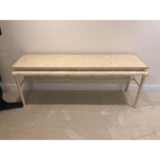 White 1970s Hollywood Regency Lacquer Chinoiserie Console Table For Sale - Image 8 of 8