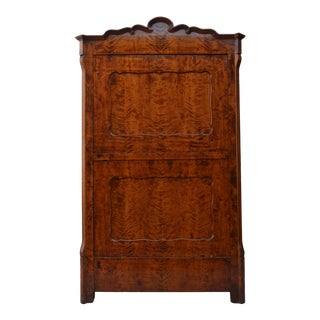 19th Century Biedermeier Style Flame Birch Armoire For Sale