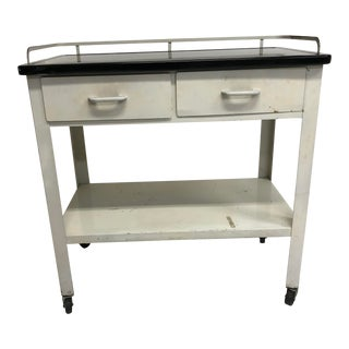 Vintage White Medical Table With Black Enamel Top For Sale