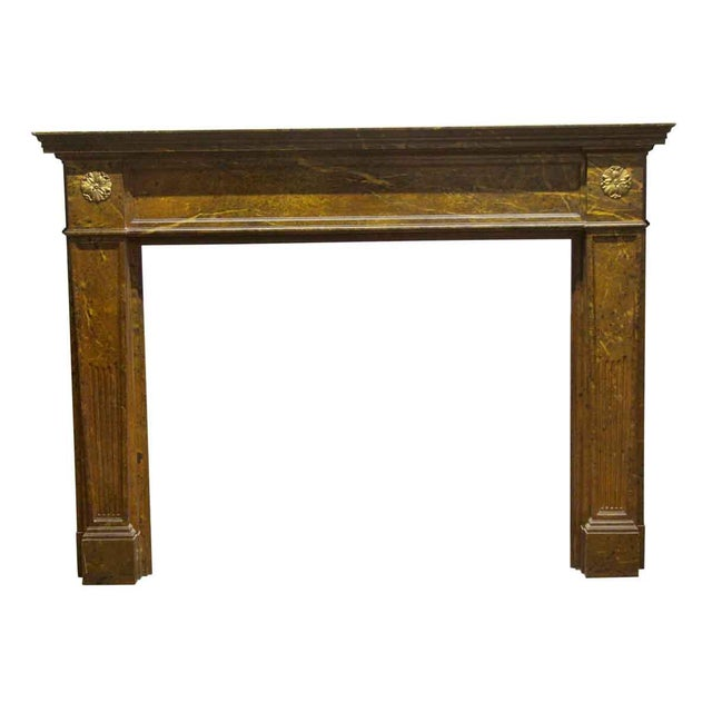 Antique Wooden Regency Mantel With Faux Marble Look For Sale - Image 10 of 10