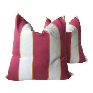 Thibaut Oasis Awning Sunbrella Outside Pillows With Faux Down Inserts - a Pair For Sale