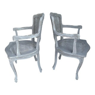 Pair Antique French Louis XVI Caned Fauteuils Gray Distressed Pair French Louis XVI Caned Armchairs For Sale
