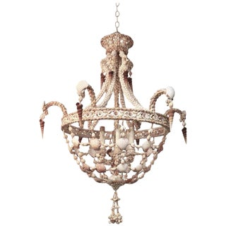 Seashell Encrusted Chandelier For Sale