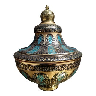 Hand Painted Glass Bowl With Cover Decorated With 24 Karat Gold and Multi-Blue Colors & Brass For Sale