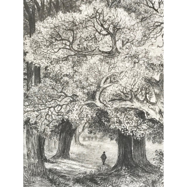 Cottage Antique 19th Century English Graphite Landscape Drawing For Sale - Image 3 of 7