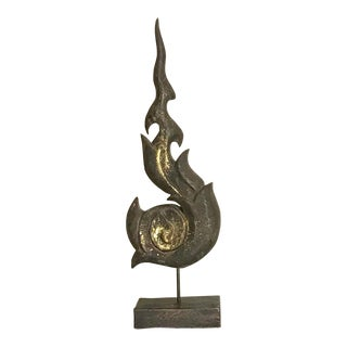 Gilt Hand Carved Wooden Flame on a Stand