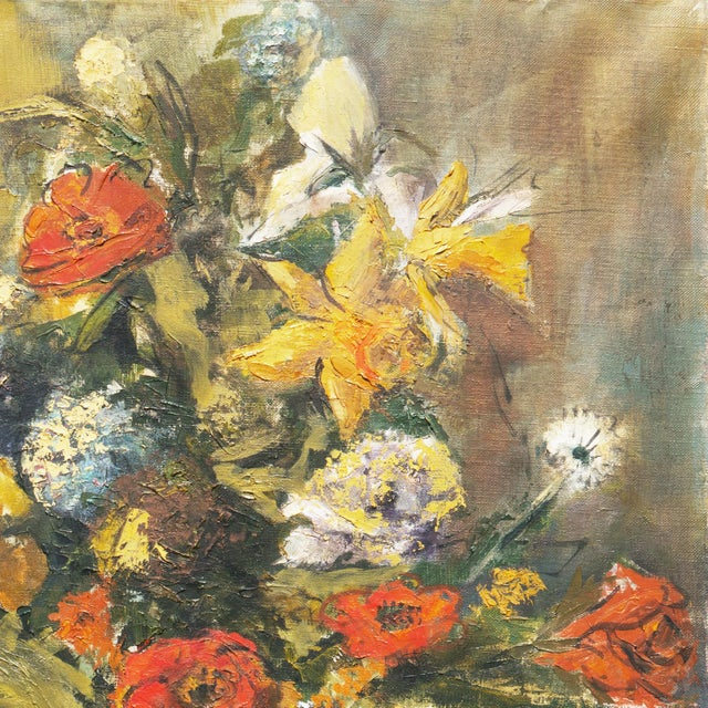 1960s 'Modernist Still-Life of Narcissus and Roses' For Sale - Image 5 of 8