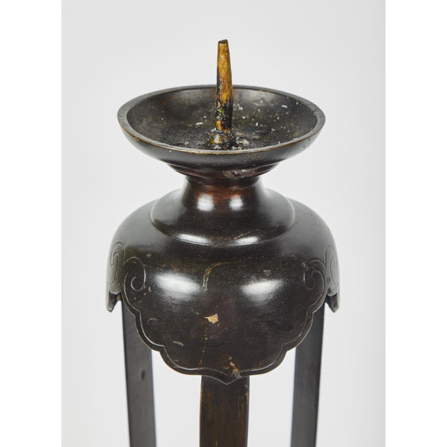 Asian 1860's Japanese Edo Bronze Candlesticks - a Pair For Sale - Image 3 of 7