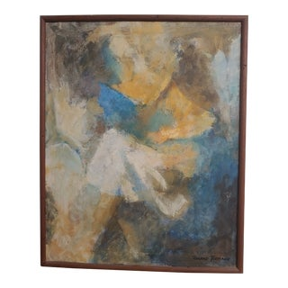 Mid 20th Century Abstract Portrait of Girl Reading Her Book Oil Painting by Roland Tiemann, Framed For Sale
